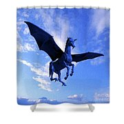 The Winged Horse Shower Curtain