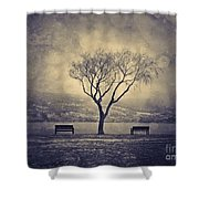 The Winter And The Benches Shower Curtain