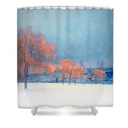 The Winter Blues Shower Curtain