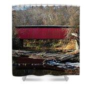 The Wissahickon Creek In Autumn - Thomas Mill Covered Bridge Shower Curtain