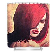 The Woman In Red Shower Curtain
