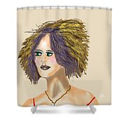 The Woman With Purple Hair Shower Curtain