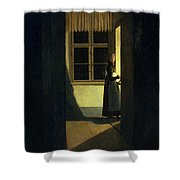 The Woman With The Candlestick Shower Curtain