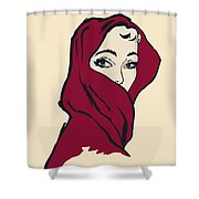 The Woman With The Crimson Veil Shower Curtain