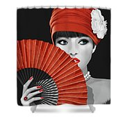 Woman With Paper Fan Shower Curtain