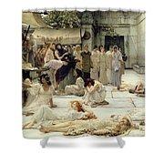 The Women Of Amphissa Shower Curtain by Sir Lawrence Alma-Tadema
