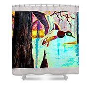 The Woodland Pond Shower Curtain