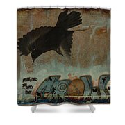 The Word Crow Shower Curtain