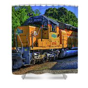The Workhorse Squaw Creek Southern Rail Road Locomotive Art Shower Curtain