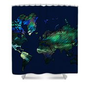 The World In Blues Shower Curtain