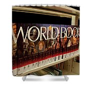 The World In The Library - Encyclopedias Shower Curtain
