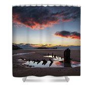 The Wreck Of The Helvetia And Worms Head Shower Curtain