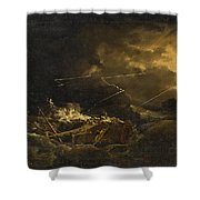 The Wreck Of The H.m.s. Deal Castle Off Puerto Rico During The Great Hurricane Of 1780 Shower Curtain