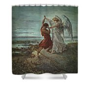 The Wrestle Of Jacob 1855 Shower Curtain
