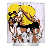 The Yellow Jersey Retro Style Cycling Shower Curtain