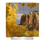 The Yellow Leaves Of Fall Frame A Rock Shower Curtain