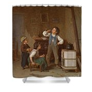 The Young Pipe Smoker Shower Curtain