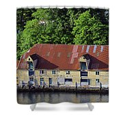 The 1905 Wooden Andreas Odfjell Warehouse On Bergen Harbor Shower Curtain