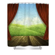 Theater Stage With Red Curtains And Nature Background  Shower Curtain