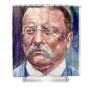Theodore Roosevelt Watercolor Portrait Shower Curtain
