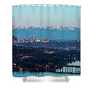 The_olympics_over_seattle Shower Curtain