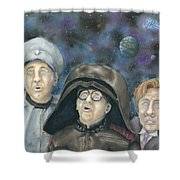 There Goes The Planet Shower Curtain