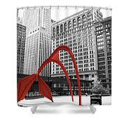 There's A Red Flamingo In Chicago Shower Curtain
