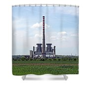 Thermal Power Plant On Green Wheat Field Industry Shower Curtain