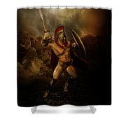 Thermopalyae Shower Curtain by Mary Hood