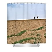 They Are Not At The Top Of This Dune Climb In Sleeping Bear Dunes National Lakeshore-michigan Shower Curtain