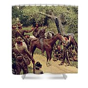 They Talked It Over With Me Sitting On The Horse Shower Curtain by Howard Pyle