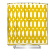 Thick Curved Trellis With Border In Mustard Shower Curtain