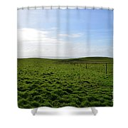 Thick Grass Field Abutting The Cliff's Of Moher In Ireland Shower Curtain