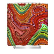 Thick Paint Orange Abstract Shower Curtain