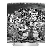 Thiksey Monastery - Paint Bw Shower Curtain