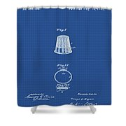 Thimble Patent 1891 In Blue Print Shower Curtain