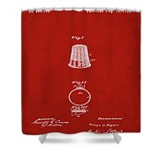 Thimble Patent 1891 In Red Shower Curtain