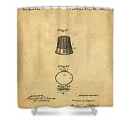 Thimble Patent 1891 In Sepia Shower Curtain