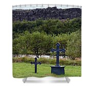 Thingvellir Church Cemetery, Iceland Shower Curtain