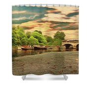 This Morning On The River Shower Curtain
