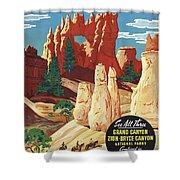 This Summer - Visit Bryce Canyon National Par, Utah, Usa - Retro Travel Poster - Vintage Poster Shower Curtain