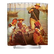 Thomas Edwin Monsters Of The Deep Shower Curtain