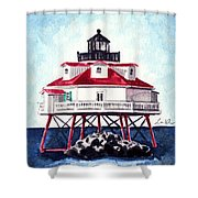 Thomas Point Shoal Lighthouse Annapolis Maryland Chesapeake Bay Light House Shower Curtain