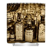 Those Old Apothecary Bottles In Sepia Shower Curtain