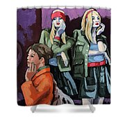 Thoughtful Shopping -city Woman Painting Shower Curtain