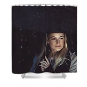 Thoughtful Woman Outdoors On Rainy Night Shower Curtain