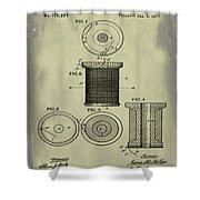 Thread Spool Patent 1877 Weathered Shower Curtain