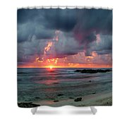 Threatening Sky Above The Caribbean Sea Off Isle De Mujeras' North Shore Shower Curtain