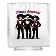 Three Amigos - Day Of The Dead Shower Curtain