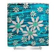 Three And Twenty Flowers On Blue Shower Curtain